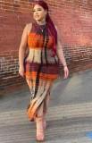 Yaz Büyük Beden Batik Kolsuz Yırtmaçlı Uzun Fit Elbise