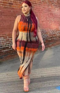 Summer Plus Size Tie Dye Sleeveless Slit Long Fit Dress