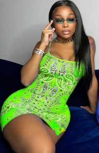 Summer Retro Print Green Strap Mini Club Dress