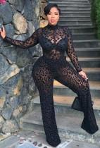Tuta formale a maniche lunghe trasparente sexy nera con stampa estiva