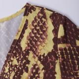 Pagliaccetti avvolgenti in pelle di serpente casual estivi