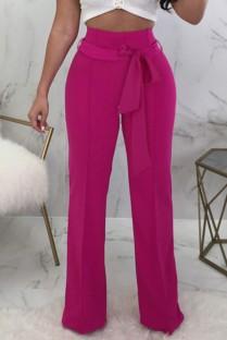 Летние повседневные розовые брюки с высокой талией и подходящим поясом