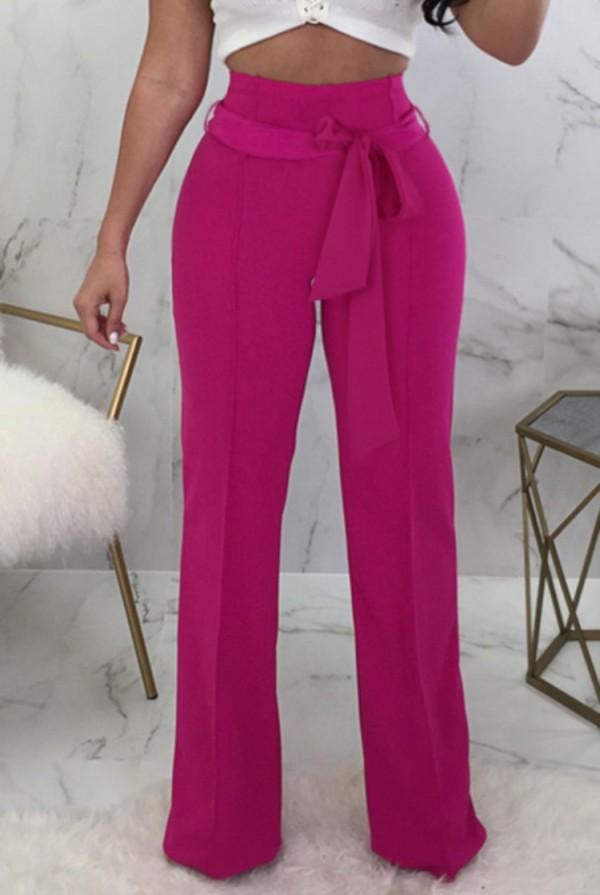 Pantaloni a vita alta rosa casual estivi con cintura abbinata