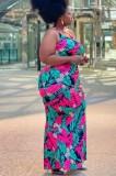 Vestido longo com halter floral de verão plus size