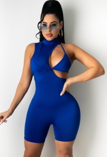 Summer Sexy Blue Hollow Out Sleeveless Bodycon Rompers