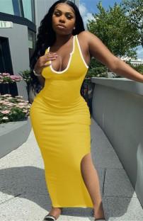 Vestido longo de verão casual amarelo com fenda lateral