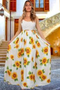 夏の太陽の花の白いストラップロングドレス