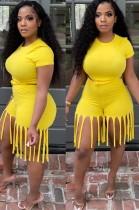 Summer Yellow Sexy Crop Top y Shorts con flecos Conjunto a juego de 2 piezas