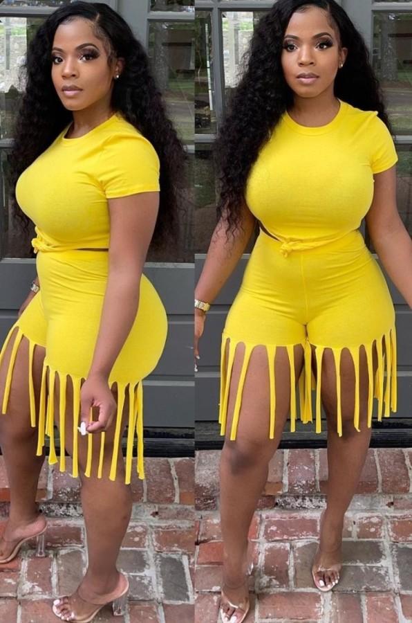 Top corto estivo giallo sexy e pantaloncini con frange 2 pezzi coordinati
