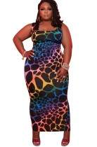 夏のプラスサイズのカラフルなノースリーブフィットロングドレス