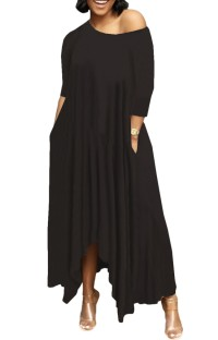 Summer Black Casual Irregular Long Maxi Dress