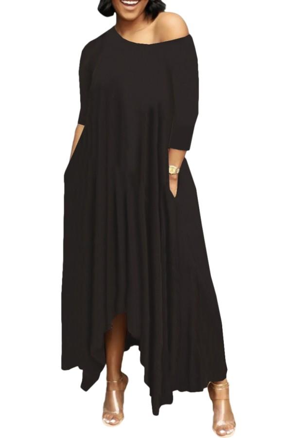 Maxi abito lungo irregolare casual nero estivo
