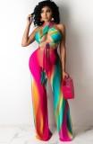 Summer Sexy Rainbow Wrap Halter Crop Top e pantaloni a vita alta Set