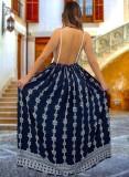 Yaz Retro Baskı Mavi Askılı Uzun Elbise