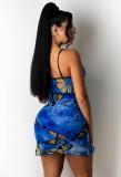 Minivestido con tiras azules y mariposas de verano
