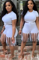 Summer White Sexy Crop Top and Fringe Shorts 2pc Matching Set