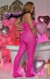 Tuta da festa con cinturino sexy trasparente in pizzo rosa estivo