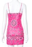Mini abito da club con cinturino rosa con stampa retrò estiva