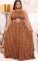 夏のプラスサイズのヒョウのホルターロングイブニングドレス