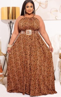 Summer Plus Size Leopard Halter Long Evening Dress