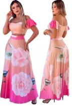 Sommer Elegant Floral Pink Crop Top und Long Rock Set
