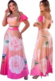 Летний элегантный розовый укороченный топ с цветочным принтом и длинная юбка