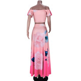 Summer Elegant Floral Pink Crop Top and Long Skirt Set