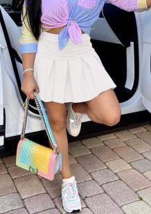 Summer White High Waist Short Pleated Skirt