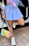 Zomerblauwe korte geplooide rok met hoge taille