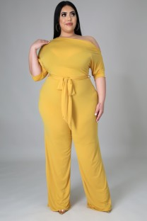 Summer Plus Size Yellow Slash Schulter Formeller Overall