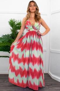 Summer Casual Wavy Sexy Deep-V Strap Long Maxi Dress