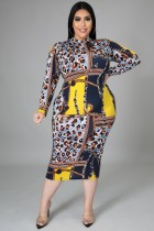 Spring Plus Size Print Long Sleeve Midi Bodycon Dress