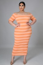 Sommer Plus Size Off Shoulder Stripes Midikleid