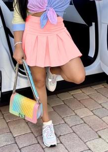 Summer Pink High Waist Short Pleated Skirt