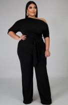 Sommer Plus Size Black Slash Schulter Formal Jumpsuit