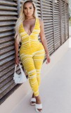 Summer Sexy Stripes V-Neck Bodycon Sleeveless Jumpsuit