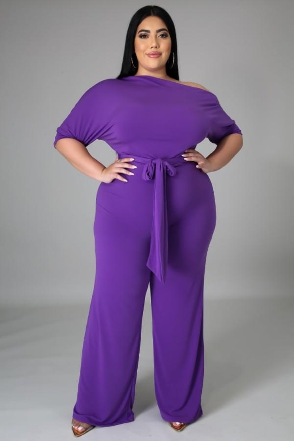 Summer Plus Size Purple Slash Shoulder Formal Jumpsuit