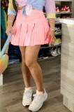 Zomer roze hoge taille korte geplooide rok