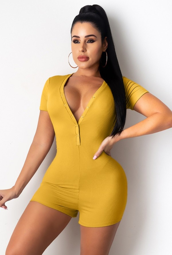 Summer Casual Yellow V-Neck Ribbed Bodycon Rompers