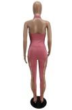 Summer Pink Aushöhlen Sexy Halfter Bodycon Jumpsuit