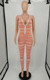 Summer Sexy Stripes V-Neck Bodycon Sleeveless Jumpsuit