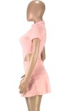 Summer Solid Plain High Cut Bodysuit and Matching Pleated Skirt 2PC Set