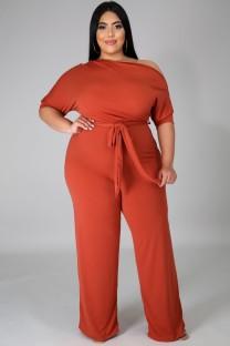 Летний деловой комбинезон больших размеров с оранжевым разрезом на плечах