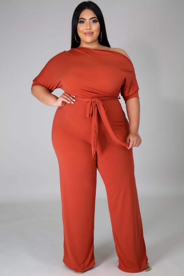 Summer Plus Size Orange Slash Shoulder Formal Jumpsuit
