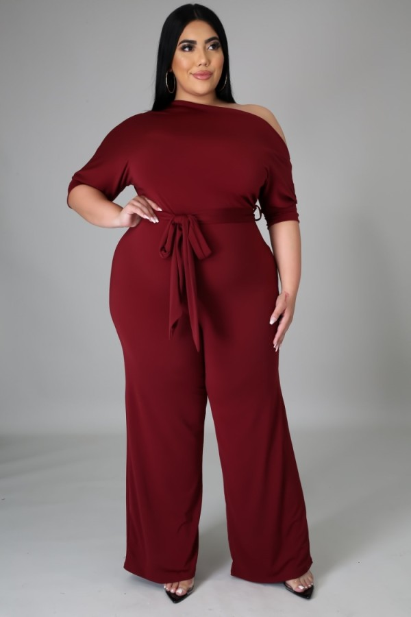 Summer Plus Size Burgunry Slash Shoulder Formal Jumpsuit