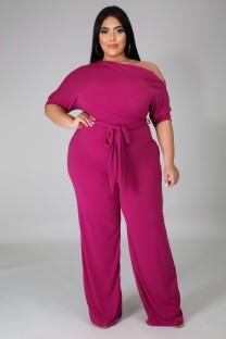 Летний деловой комбинезон больших размеров с розовыми разрезами на плечах