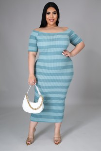 Summer Plus Size Off Shoulder Stripes Midi Dress