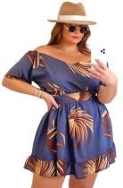 Sommer Plus Size Casual Print Kurzes Kleid mit V-Ausschnitt