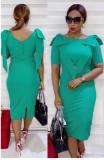 Vestido Midi formal para mãe de verão verde babado
