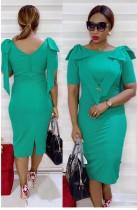 Sommer Mutter formale grüne Rüschen Midi Kleid